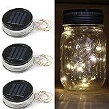 Expower 3er Pack Solar Gläser Deckel Licht Solarwelt LED blinkende Licht Warmweiß für Standard Einmachglas