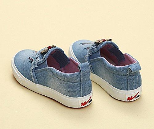 Mädchen Sneakers Slip On Canvas Einfache Leichte Lässige Frühling Halbschuhe Hellblau
