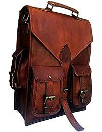 Genuine Leather Vertical Back Pack Messenger Bag Brown BY Bag House - B07BZQX76K