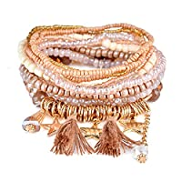 RareLove Bohemian Beaded Bracelet Stretch Wrap Bangle With Charms Stars Tassels Dangle Layered