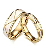 San Jiu Schmuck Damen Ringe 18K Vergoldet Dreieck Muster Freundschaftsringe Eheringe Trauringe Verlobungsringe Verlobung Ringe für Damen Mädchen Gold