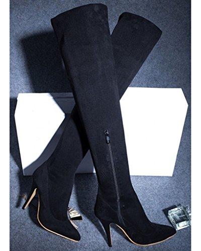 Minetom Femme Hiver Bottes Over Knee Stiletto Bottes Haute Serré Boots Talons Hauts Suède Bottes Noir