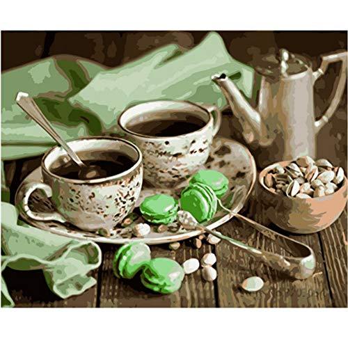 Waofe Zwei Tassen Kaffee Handgemachte Farbe Hochwertige Leinwand Schöne Malen Nach Zahlen Überraschungsgeschenk Große Leistung No Frame (Künstler-kaffee-tasse)