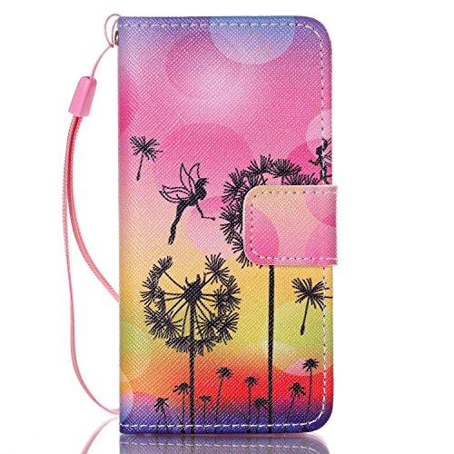 Kompatibel mit iPod Touch 5G Hülle Pink,Schutzhülle für iPod Touch 5G,iPod Touch 5G Hülle Blume Strap Lanyard Wallet Cover Tasche Bunte Retro PU Leder Flip Case Handytasche Hüllen im Handyhülle