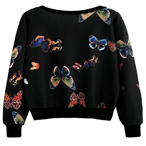 Vovotrade 2016 La plus haute qualité femmes papillon blouse à manches longues Sweatshirt overs Noir
