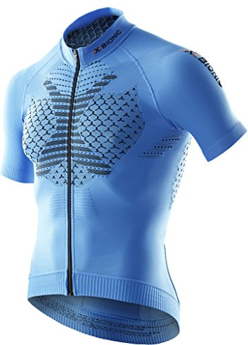 X BIONIC twyce Short Full Zip, Fahrrad Trikot Herren French Blue/Black