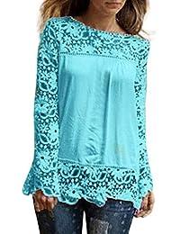 ❤️Camisas Mujer,Modaworld Moda Camisa de Manga Larga para Mujer Tops Blusa de Encaje
