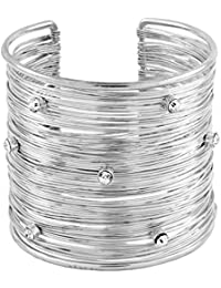 The Jewelbox Party Statement Mesh Imported Silver CZ Free Size Cuff Kada Bangle Bracelet Girls Women
