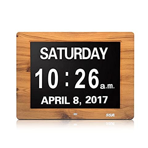 Dementia Day Clock,Memory Loss Digital Calendar Day Clock, with Extra Large Non-Abbreviated Day & Month. Perfect for Seniors (12