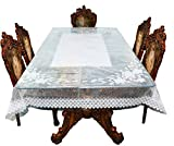 Casa Furnishing 6 Seater Pvc Table Cover; Printed; 60X90 Inches Dining Table Cover 6 Seater Almind-3[Spider White]