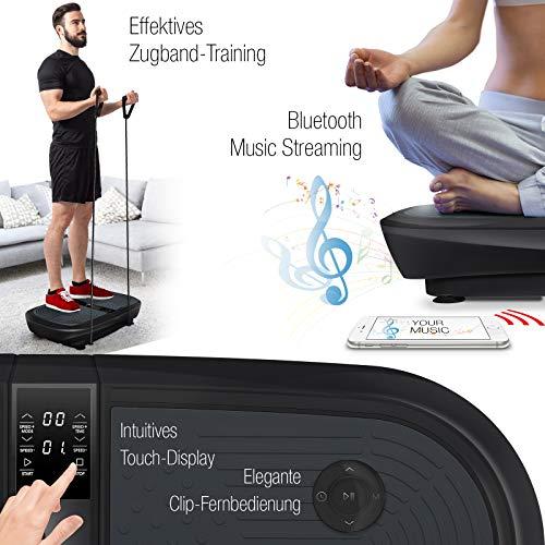 Sportstech Profi Vibrationsplatte VP300 mit 3D Wipp Vibrations Technologie + Bluetooth A2DP Musik, Riesige Fläche, 2 Kraftvolle Motoren + einmaliges Design + Trainingsbänder + Fernbedienung - 6