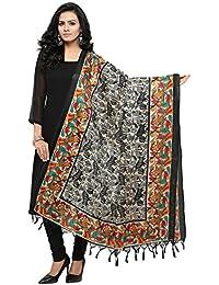 Salwar Studio Women's Black & Multi Jute Silk Printed Dupatta(OM-0031459_Free Size)