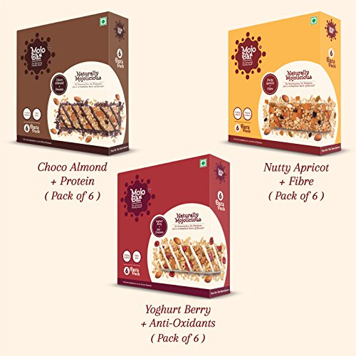 Mojobar - Combo Pack Of 18 (6 Choco Almond + 6 Yoghurt Berry + 6 Nutty Apricot) Snack Bar