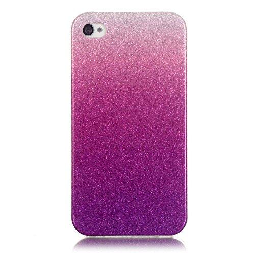 iPhone 4S Hülle Weiches Silikon Glitzer Schutzhülle Tasche Case,iPhone 4 Hochwertig Leicht Gummi Schutz Hoch Handyhüllen Schale Etui,Herzzer Modisch Luxus Silikon Bunt Hülle [Farbverlauf Gradient Farb Helles Lila