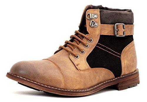 Hombre Casual Al Tobillo Chelsea Motero Cremallera Hebilla Botas Con Cordones Número Zapato - Marrón, Hombre, 9 UK / 43 EU