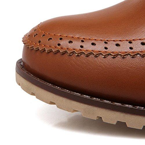 VogueZone009 Damen Mittler Absatz Rein Schnüren Weiches Material Rund Zehe Pumps Schuhe Braun