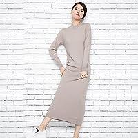 HYW Vestido de Primavera Largo Suéter de Color Sólido Salvaje de Manga Larga,Segundo,XXL