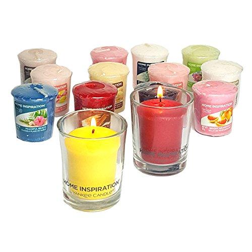 2x Offizielle Yankee Candle Home Inspiration Glas Halterungen inkl. 6x sortiert Sampler/Votivkerze Kerzen Ostern-advent-kalender