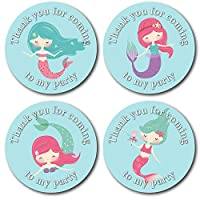 45mm Mermaid Thank You for Coming to My Party Stickers. 4 Under The Sea Mermaid Designs (24 Stickers Total). Great for Party Bags, Sweet Cones and Birthday Party Bag fillers.