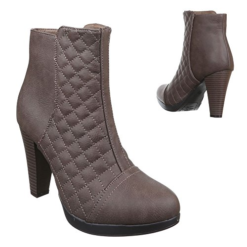 Damen Schuhe, B2905-KB, STIEFELETTEN BOOTS Braun Grau