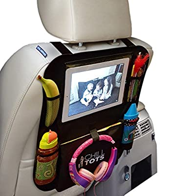 """Chill Tots - Back Seat Car Organiser with 10.1"""" iPad / Tablet Holder Touch Screen Kids Kick Mat Seat Protector Cover Universal Fit Multi Pockets Children's Storage - Black"""