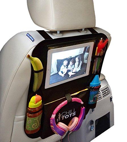 Preisvergleich Produktbild Chill Tots, Autorücksitz-Organizer mit Halter für 10,1-Zoll-Tablet / -iPad (25,7cm) mit Touchscreen-Fenster, Kinder-Trittschutz, Sitzschutz, universelle Passform, viele Taschen zur Aufbewahrung von Kindersachen,Schwarz