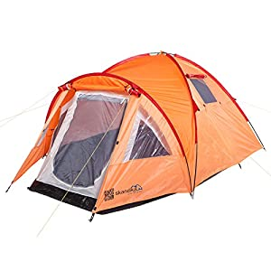 skandika mora trekking hiking tent - orange/red, 3 persons