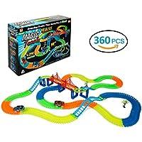 BIGWING Style 360 Pezzi Macchinine Pista di Auto Racing Game il Bagliore Nel Buio Traccia con 2 Pista Macchinine Cars Ponte per Bambini