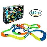360 Stück Flexible Glow Race Track BIGWING Style Neon Glow Twister Tracks mit 2 Blinken Autos - Magic Rennbahn Tracks Spielzeug für Weihnachtsgeschenk für Jungen Mädchen von 3 Jahre und Bis