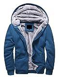 Minetom Homme Hiver Chaud Polaires Doublé Sweats à Capuche Cotton Manteaux Doux Blousons Sweat-shirts Outwear Tops (EU M, Bleu)