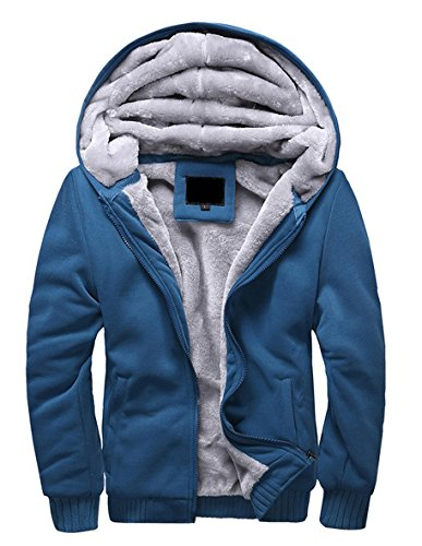 Vlies-mantel (Minetom Herren Winter Warm Vlies Gefüttert Kapuzenpullover Baumwolle Mäntel Weich Jacken Sweatshirts Mit Kapuze Outwear Blau DE 56)