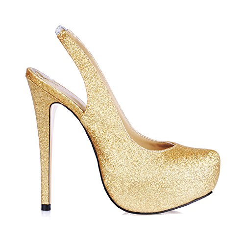 Schuhe High Glitter Green Heel (Das jährliche Treffen der Mädchen geschmack Sandalen Bankett nach Frauen Schuhe große high-heel Schuhe, golden)