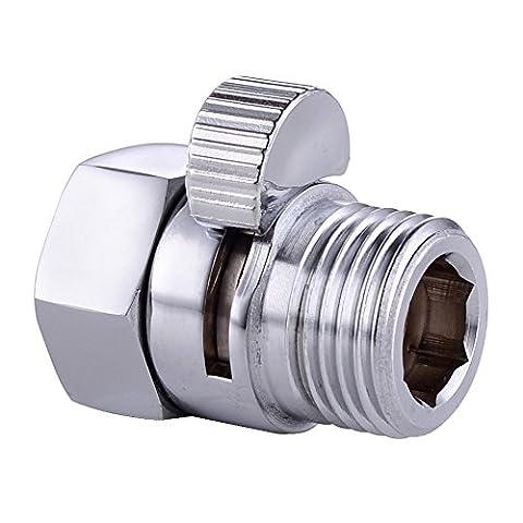 homeself Vanne de régulation du débit de douche, tête de douche robinet d'arrêt en laiton massif avec interrupteur courtes, Pièce de Rechange