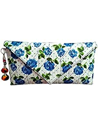 Nicedesign Designer Blue Color Floral Printed Women's Clutch Wallet Purse Pouch