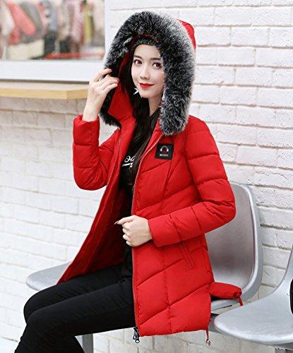 WanYang Donna Giacca Con Cappuccio Colletto Grande Pelliccia Giacca Più Sottile Giù Giacca Sottile Femminile Rosso