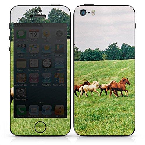 Apple iPhone SE Case Skin Sticker aus Vinyl-Folie Aufkleber Wilde Pferde Mustang Pferd Stute Horse DesignSkins® glänzend
