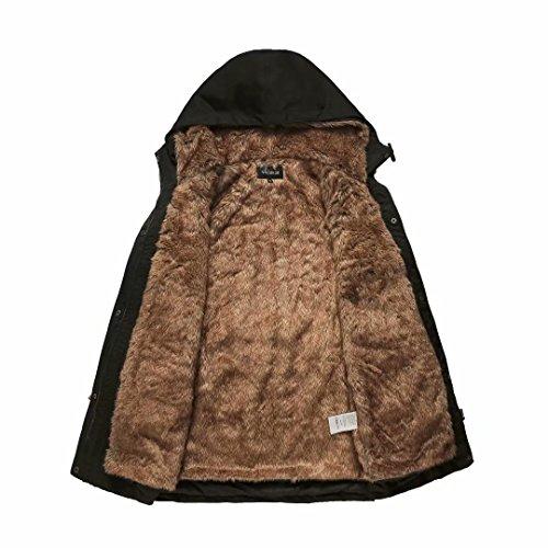 Damen Warm Trenchcoat Mit Abnehmbaren Liner Lang Daunen Mantel Kunst Fell Winter Jacke Schwarz DE:36 / US:XS - 3
