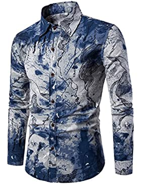 CHENGYANG Uomo Floreale Stampa Camicie Maniche Lunghe Moda Shirts Slim Fit Causal Camicetta Top