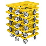 10 Stück Transportroller für Kisten 60 x 40 cm mit 4 Lenkrollen in gelb