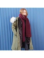 2016 unisex de pareja hombre y mujer de invierno nueva punto bufanda lana caliente gruesa bufanda hecha punto bufandas de mujer caliente , wine red