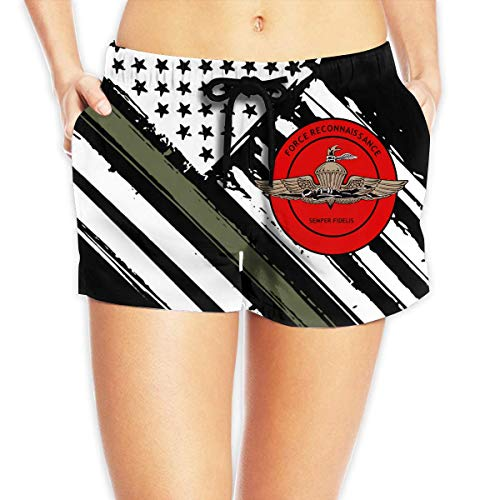 Corps Recon Kostüm - vbndfghjd Recon Marine Corps Women's Swim Trunks Quick Dry Beach Board Shorts Funny Novelty XL