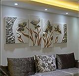 ZZZSYZXL Happy floridi dipinti in rilievo tridimensionale 4 pezzi fatti a mano pittura decorativa divano del soggiorno contesto , 2
