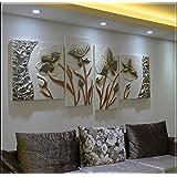 ZZZSYZXL Glückliche blumigen dreidimensionale Reliefbilder 4pcs handgemachte dekorative Malerei der Couch im Wohnzimmer Kulisse , 2
