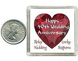 Lucky Sixpence Coin (Glücks-Cent) zum 40. Hochzeitstag, Rubin, Geschenk