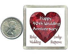 Idea Regalo - Oaktree Gifts - Portafortuna 6 pence in argento per 40° anniversario di matrimonio, nozze di rubino. Include scatola da regalo, perfetta idea regalo