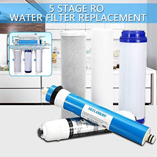 5-Stufen-Umkehrosmose-RO-Ersatz-Wasserfilter-Kit mit 75-GPD-Membran-Wasserfilterpatrone für Haushaltswasserreiniger -