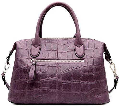 Xinmaoyuan Handtaschen der Frauen Sommer Dame Handtasche Kopf Schicht Rindsleder Krokodil Muster Knödel Tasche großer Beutel reine Farbe Oval Umhängetasche, schwarz Lila