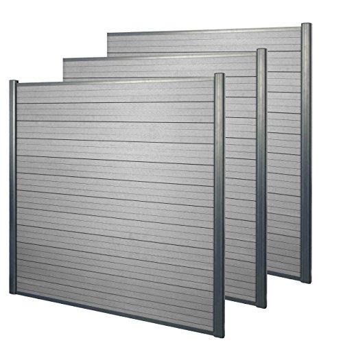 Mendler WPC-Sichtschutz Sarthe, Windschutz Zaun, Alu-Pfosten ~ 3er Set, 5,6m grau