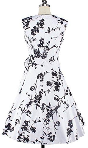 U-SHOT femmes sans manches 60Années 50Rockabilly robe cocktail party Swing Blanc