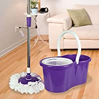 ASAB 360° Spinning Floor Mop and Bucket Set with 2 Microfibre Heads | Easy Wring | Adjustable Height - Purple